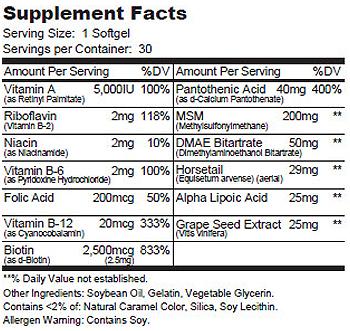 SHN SUpplement Facts